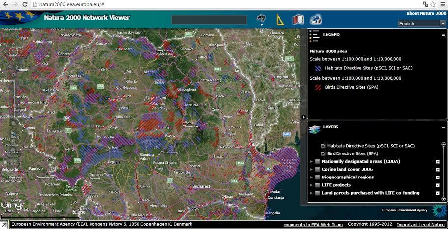 Zonele Natura 2000 de pe teritoriul Romaniei.